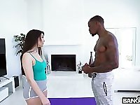 Italian white babe Valentina Nappi gets intimate with her black stepbrother