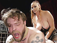 Big mammaries domme spanks and butt fuck fucks guy