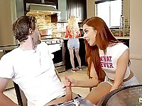 Ginger chick Vanna Bardot bangs handsome friend's brother in the bathroom