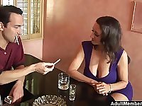 After chit chat Persia Monir blows a friend's hard cock in the bar