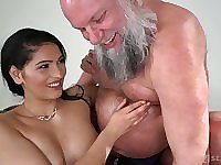 Buxom and sexy beauty Ava Black rides older man's strong cock on top