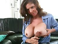 Big breasted officer sucking and fucking hard cock in POV