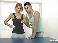 Missy Luv gets her pussy fucked by her trainer on the table for tennis
