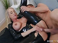Shiny latex catsuit on a hot mommy taking big cock