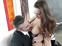 Fabulous curvy sexpot Abigail Mac blows cock and impresses dude with ride