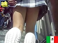 Voyeur catches real schoolgirl upskirt shot in plaid uniform