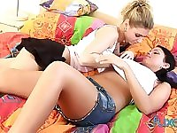 Blond babe is finger fucking wet pussy of brunet girlfriend Jessica