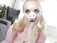 River Fox dresses up as Ms. Piggy and gets her tight pussy pounded
