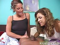 Katie Thomas and Jayma Reed share hard friend's penis on the couch