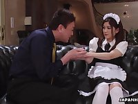 Cute Asian maid gets fucked by her perverted married boss
