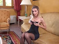 Classy blonde babe in a sexy, black dress, Cara Mell is showing us her perfectly shaved pussy