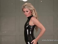 Torrid blonde latex queen loves flashing her really nice booty