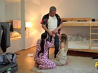 Roommates get laid with one's step dad in a fabulous threesome