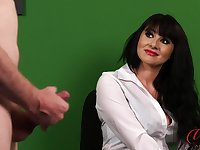 Office lady Heidi Raymond watches her kinky boss play with his cock