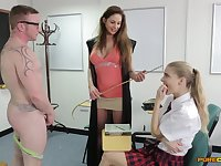 Cathy Heaven and Cayenne Klein drop on their knees to give head