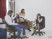 Crazy office threesome with HOT Penelope Cum and Holly Kiss