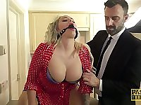 Blonde curvy bombshell Louise Lee tied in a rough fetish scene