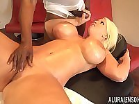 Busty MILF Alura Jenson bends over for a big black cock and eats cum